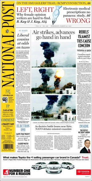 The National Post balances color, photos and graphics.
