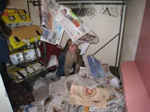 Me surrounded by discarded papers