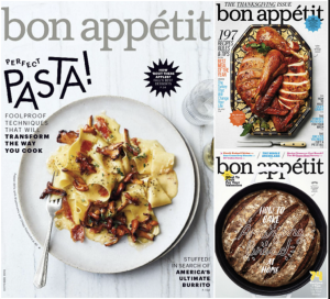 Image shows three of bon appétit's covers; one of a pasta dish, the other of a one-pot chicken dish and the last of homemade bread.